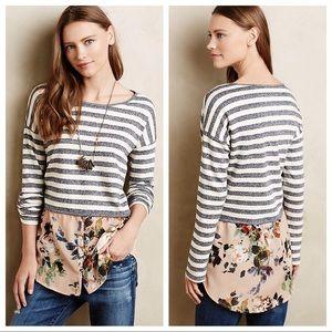 Anthropologie Postmark Striped Floral Sweatshirt